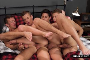Helix Studios - Four Play - Logan Cross, Brad Chase, Aiden Garcia and Corbin Colby