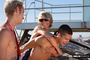 Young gay boys Max Carter and Sean Ford at lifeguard station 2