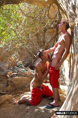 Young gay boys Max Carter and Sean Ford at lifeguard station 14