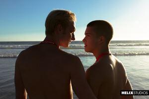 Young gay boys Max Carter and Sean Ford at lifeguard station 29