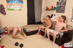Young guys strap a red cup to their buddy's ass and compete in a Butt Pong competition. Watch the official video starring gay boys in HD at Realitydudes.com 16