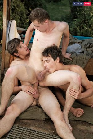 Alessandro Katz, Rudy Stone and Anah Amory - Hooded cops give horny twink a hot and jizzy facial 4