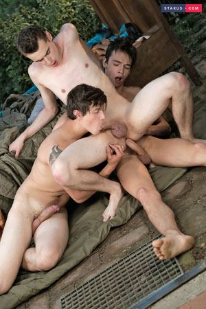 Alessandro Katz, Rudy Stone and Anah Amory - Hooded cops give horny twink a hot and jizzy facial 6