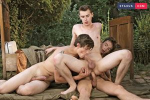 Alessandro Katz, Rudy Stone and Anah Amory - Hooded cops give horny twink a hot and jizzy facial 7